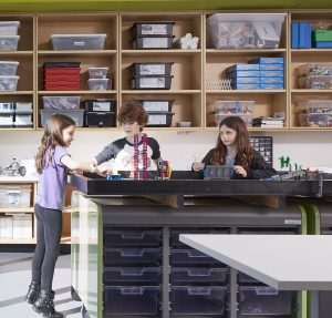 students leaning together in class